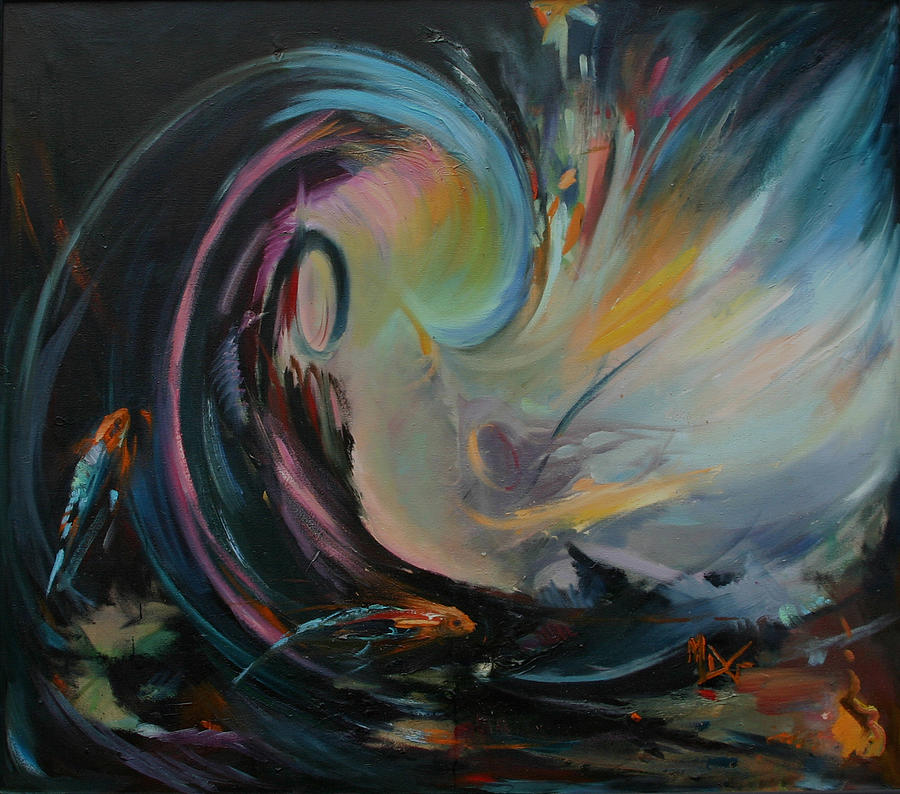 Ocean Painting - Breakthrough The Piscean Age by Mary D Guidetti