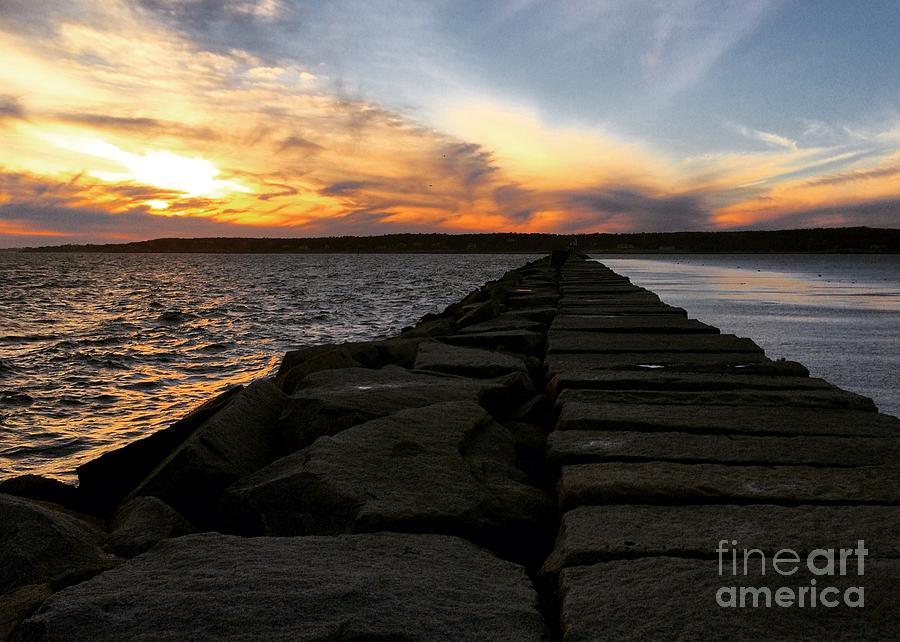 Sunset Photograph - Breakwater by Hanni Stoklosa