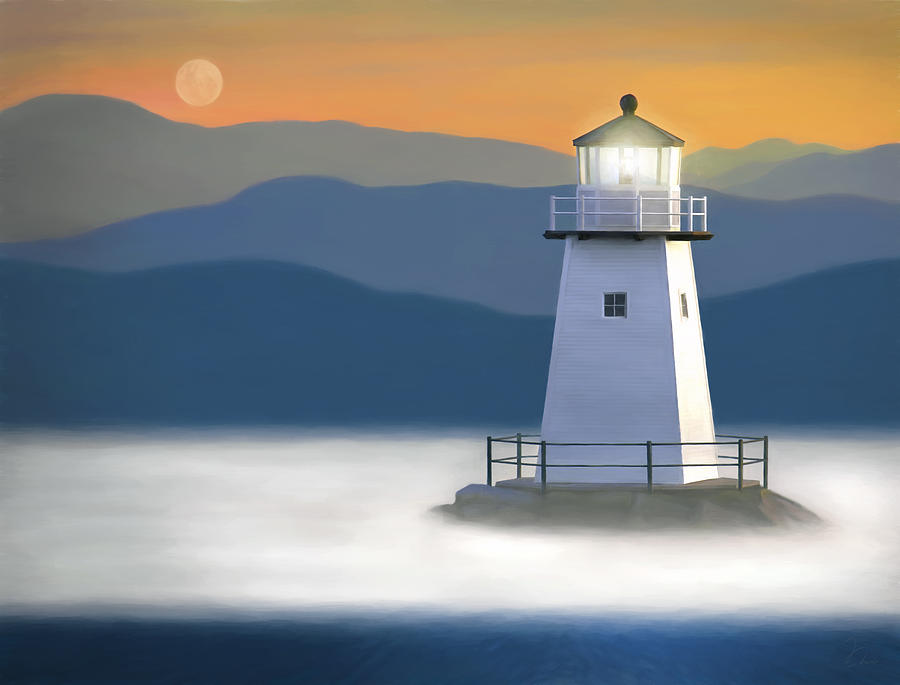 Oil Painting - Breakwater Light by James Charles