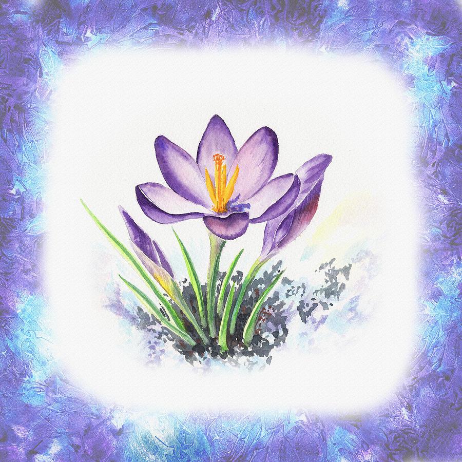 Breath Of Spring Crocus Flowers Painting By Irina Sztukowski