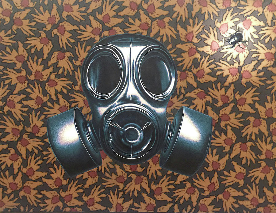 Gas Mask Painting - Breathless by Stephen Hall