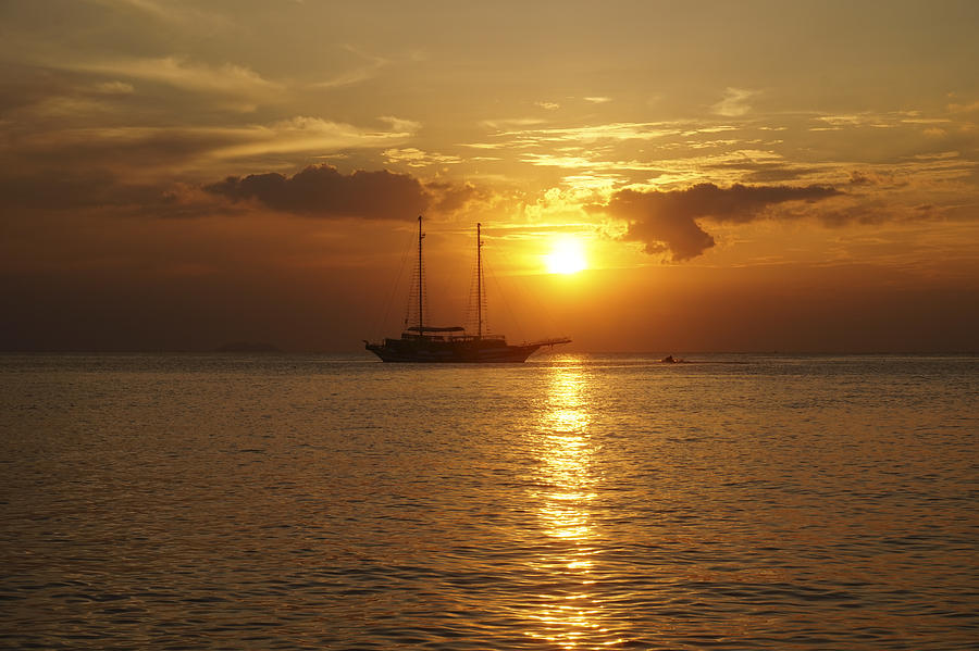 Atmosphere Photograph - Breathtaking Sailboat Ocean Sunset #0182 by Don Charisma