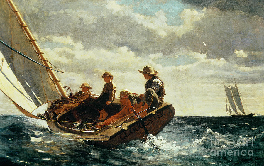 Boats Painting - Breezing Up by Winslow Homer