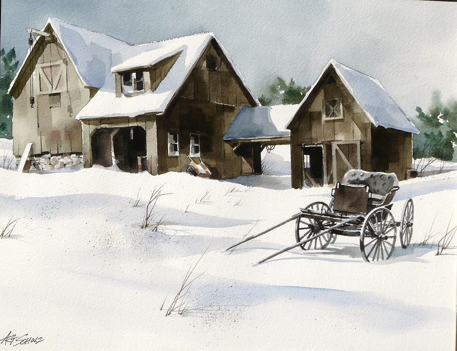 Snow Painting - Breezy Barns n Buggy by Art Scholz