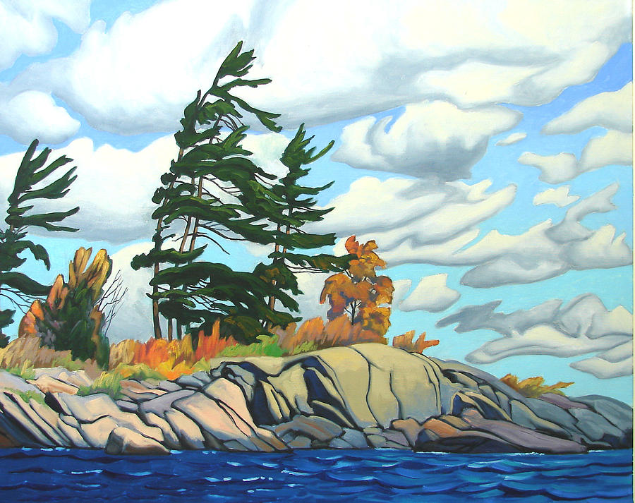 Landscape Painting - Breezy Day Georgian Bay by Paul Gauthier