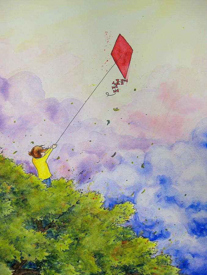 Kite Painting - Breezy Day Happy Day by Jaymi Krystowiak