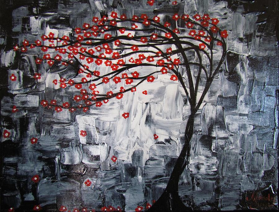 Red Painting - Breezy Tree by Mandy Joy
