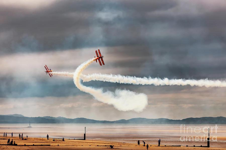 Breitling Photograph - Breitling Wingwalker Biplanes by Adrian Evans