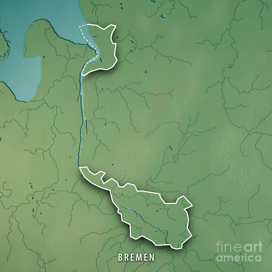 bremen digital art bremen bundesland germany 3d render topographic map border by frank ramspott