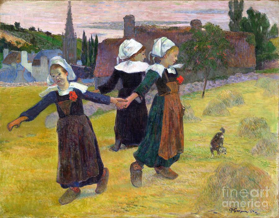 Paul Painting - Breton Girls Dancing Pont-aven by Gauguin