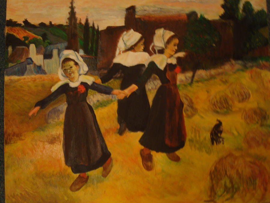 Landscape Painting - Breton Girls by Marcella Jackson