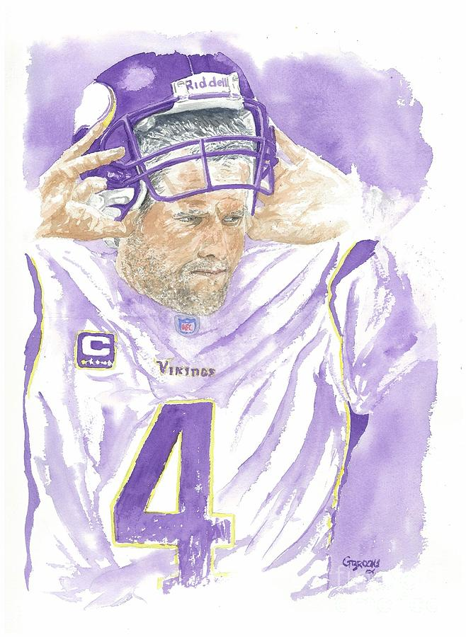 Nfl Paintings Painting - Brett Favre - The Old Warrior by George  Brooks