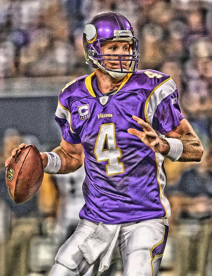 Bret Favre Painting - Brett Favre Minnesota Vikings by Joe Hamilton