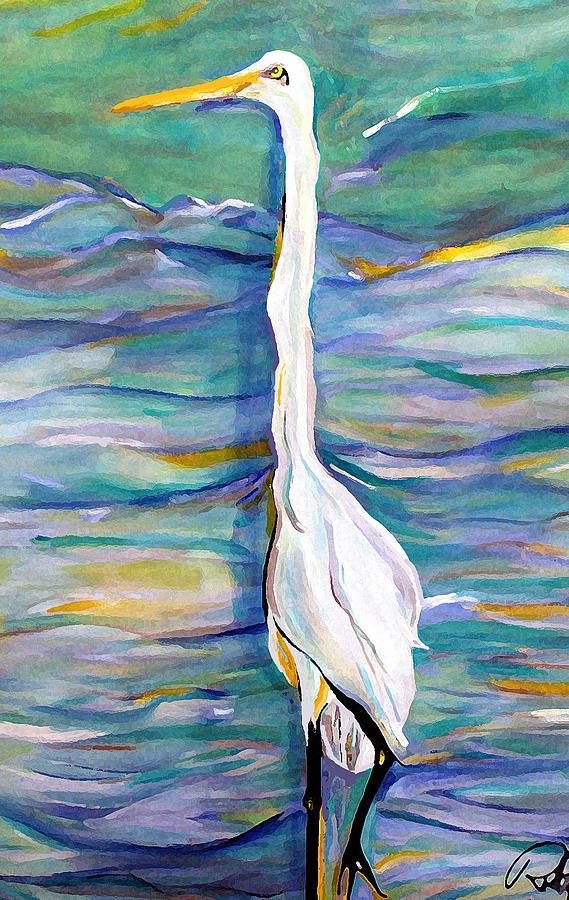 Birds Print - Bretts Egret by Robert R Ferguson