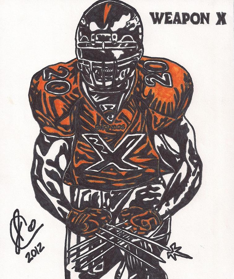 Denver Broncos Drawings Drawing - Brian Dawkins by Jeremiah Colley