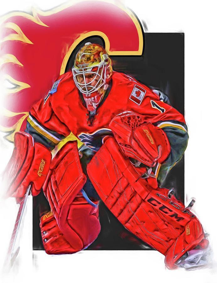 Brian Elliott Calgary Flames Oil Art Mixed Media By Joe Hamilton