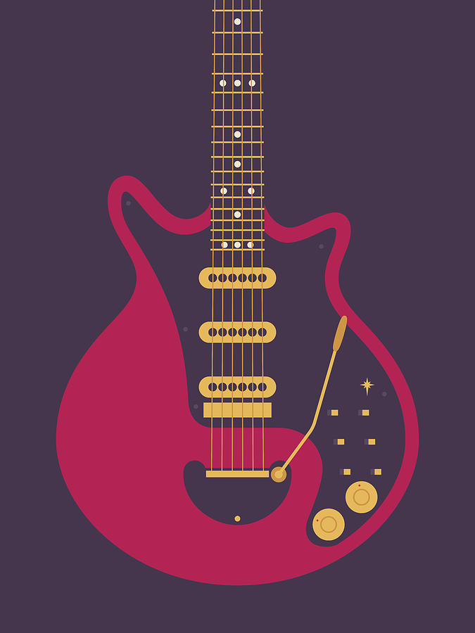 Guitar Digital Art - Red Special Guitar - Black by Ivan Krpan