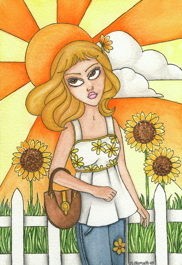 Brianna Painting - Briannas Sunflowers by Nora Blansett