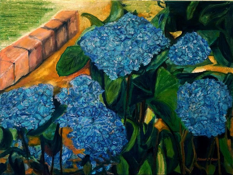 Bricks Border Blue Hydrangeas by Deborah D Russo