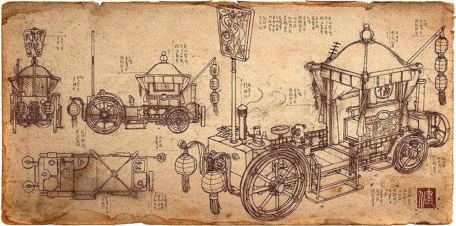 Bridal Carriage Blueprint Drawing By James Ng