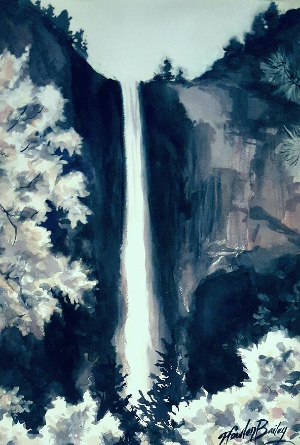 Yosemite Falls Painting - Bridal Veil Falls Love by Therese Fowler-Bailey