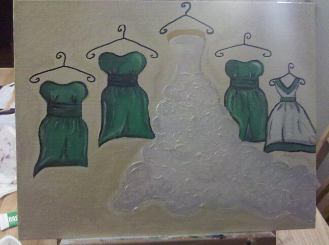 Bridal Party Painting - Bridal Wedding Party by Amberleigh Shaffield