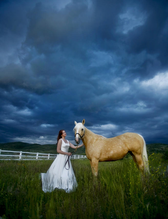 Beautiful Photograph - Bride And Horse With Storm by Nick Sokoloff