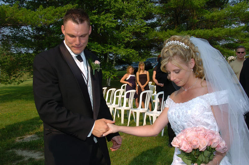 Garden Wedding Photograph - Bride Groom First Holding Hands Before Ceremony by Mary Curtis