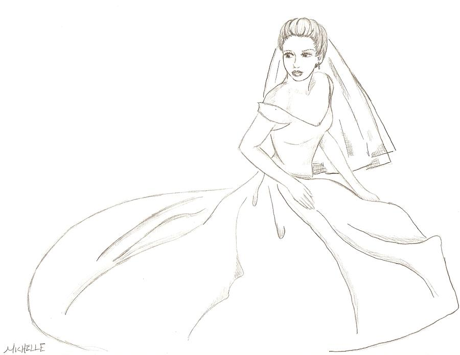 Veil Drawing - Bride by Michelle Kinzler