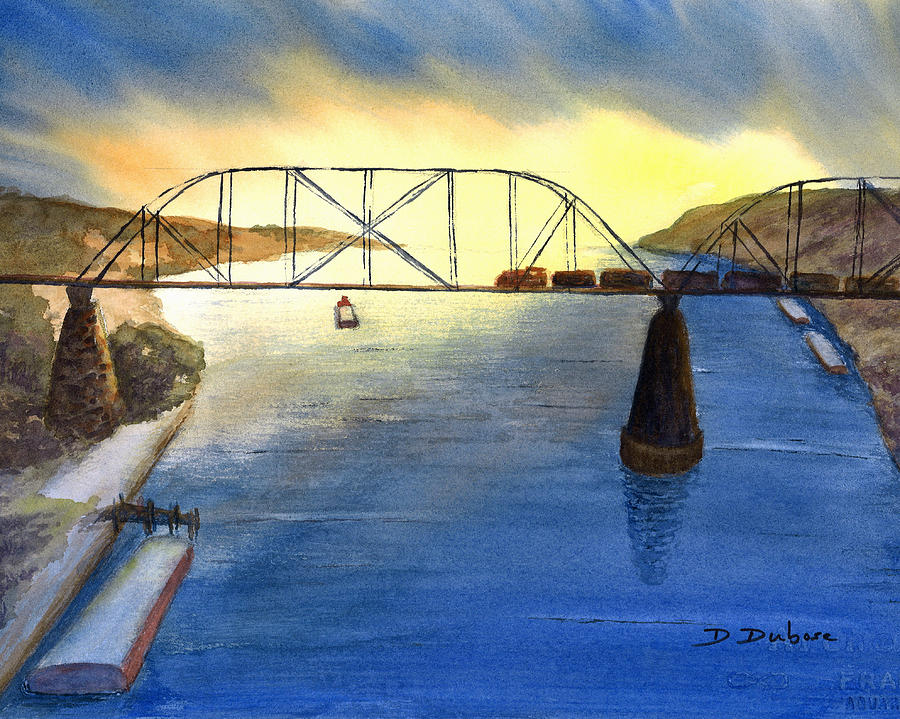 River Painting - Bridge And Barge by Darrell Dubose