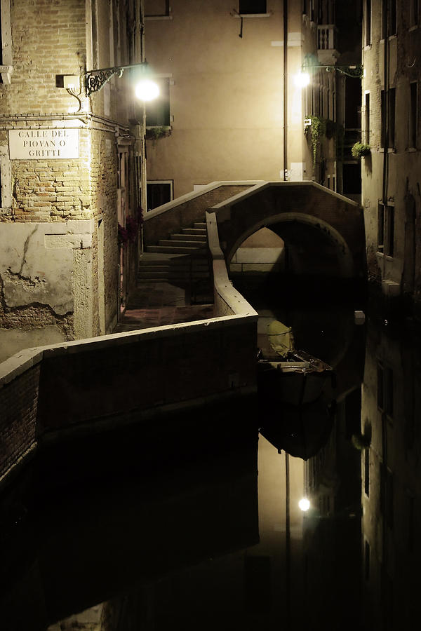 Venice Photograph - Bridge and Canal in Venice at Night by Michael Henderson