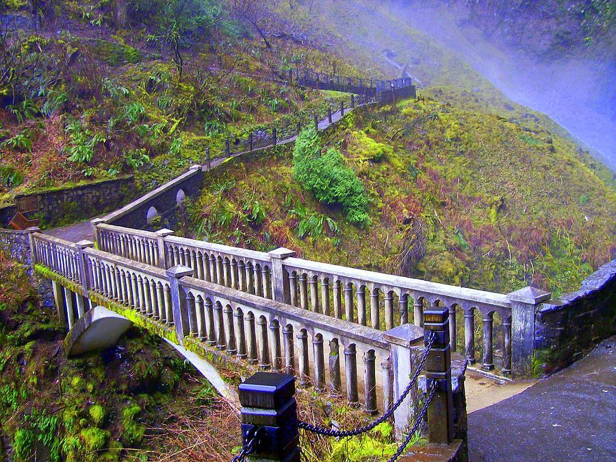 Bridge Photograph - Bridge at Multnomah Falls by Lisa Rose Musselwhite