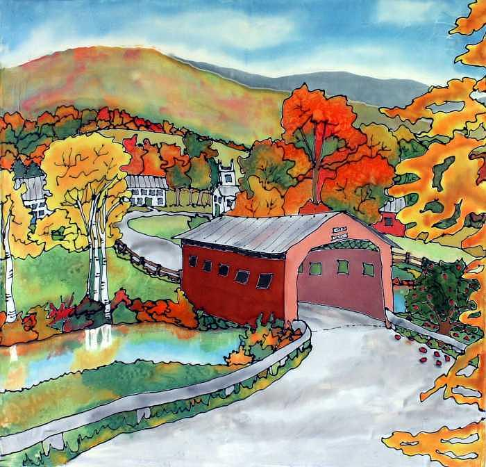 Covered Bridge Painting - Bridge at the Green by Linda Marcille