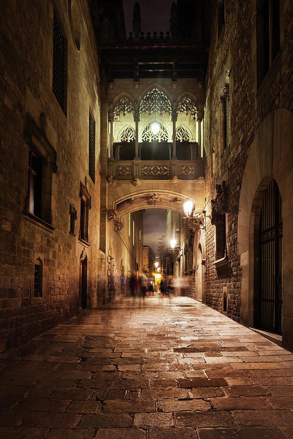 Barcelona Photograph - Bridge In Gothic Quarter Of Barcelona At Night by Artur Bogacki