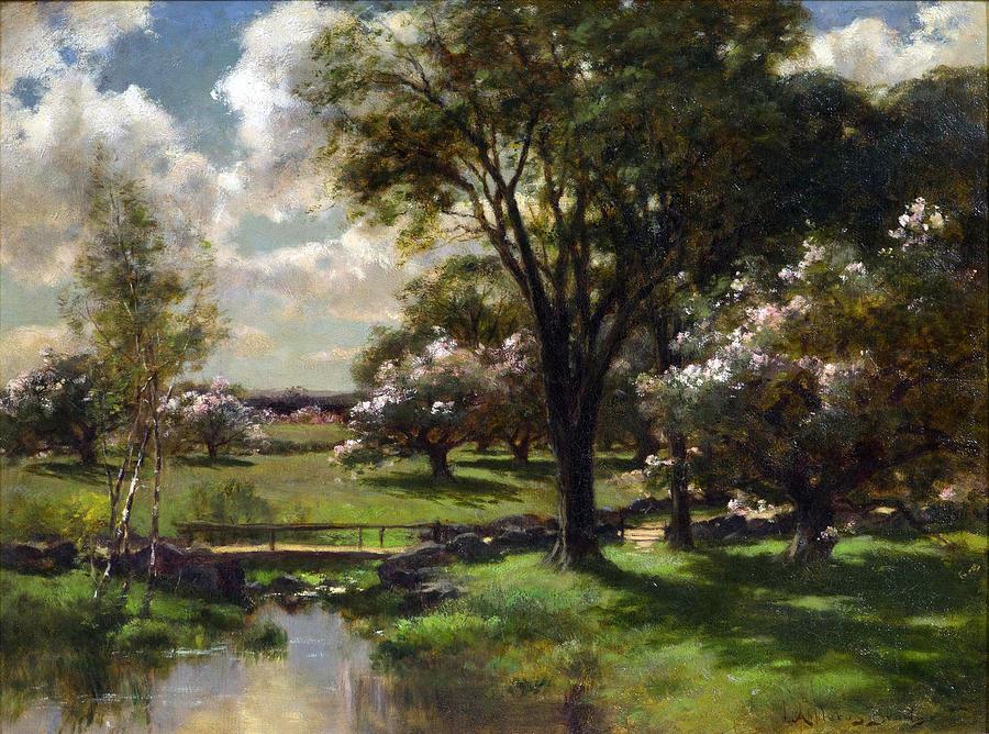 Canvas Prints Painting - Bridge In Late Spring by John Appleton Brown