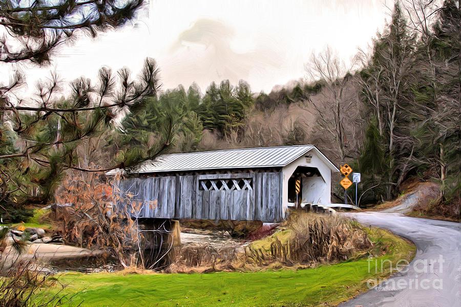 Covered Mixed Media - Bridge In Montgomery by Deborah Benoit