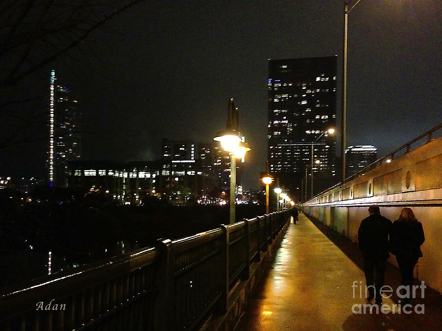 Austin Texas Photograph - Bridge Into The Night by Felipe Adan Lerma