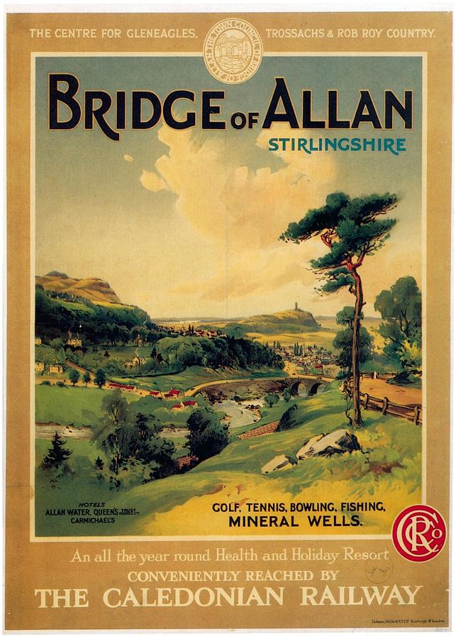 Bridge Of Allan, Stirlingshire - The Caledonian Railway - Retro Travel Poster - Vintage Poster Mixed Media