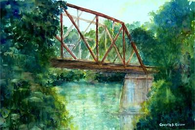 Bridge Over Little Red River Painting - Bridge Of Memories by Charlotte Bailey Rierson