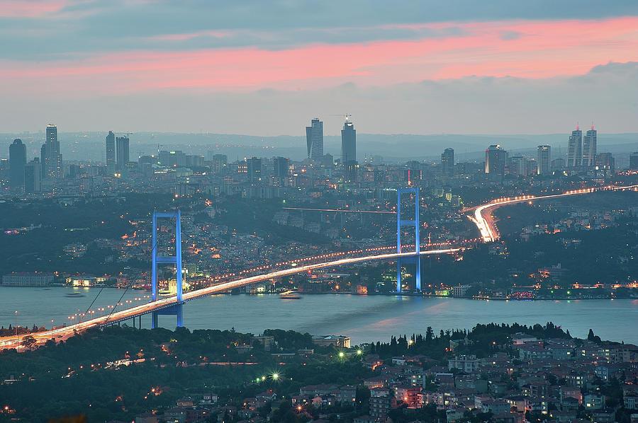 Horizontal Photograph - Bridge Over Bosphrous by Salvator Barki