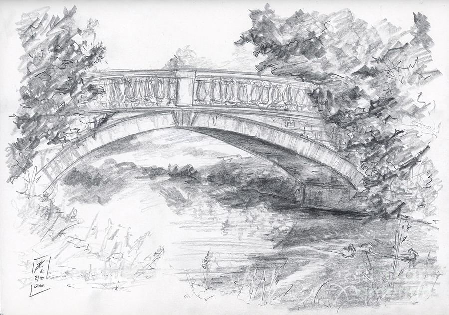 Bridge Over The River White Cart Drawing By Brandy Woods