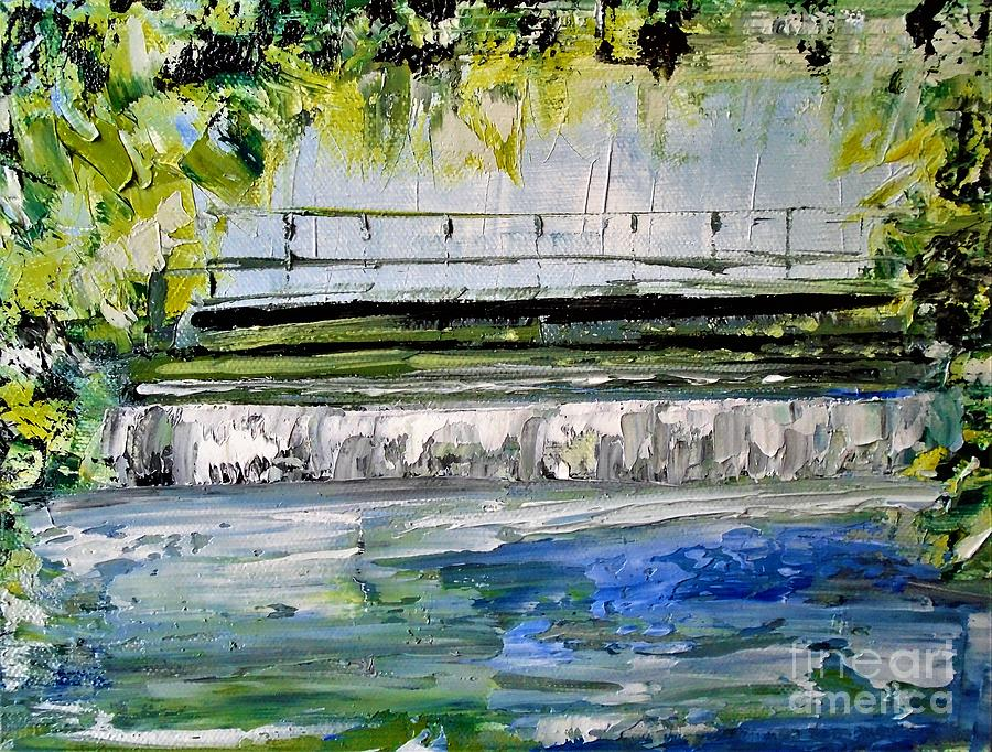 River Painting - Bridge Over The Weir II by Angela Cartner