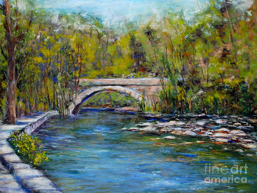 Philadelphia Pastel - Bridge Over Wissahickon Creek by Joyce A Guariglia