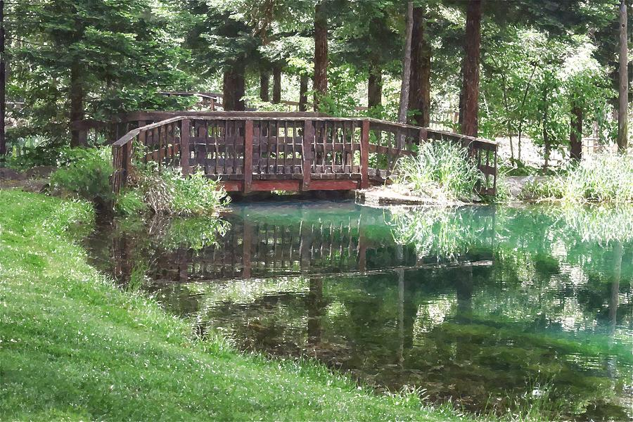 Bridge Pond Watercolor Photograph