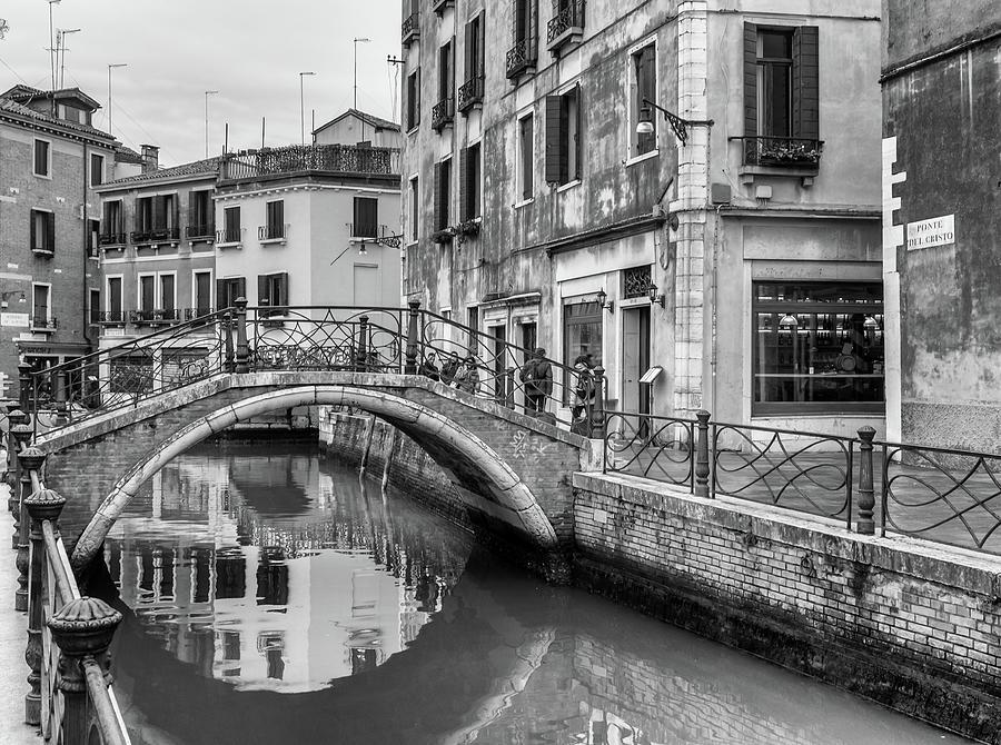 Venice Photograph - Bridge Reflections In Venice by Georgia Fowler