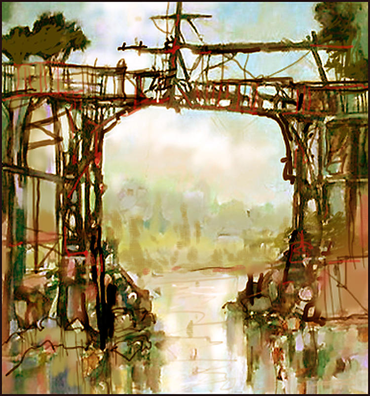 Sketch Painting - Bridge Repairs by Dale  Witherow