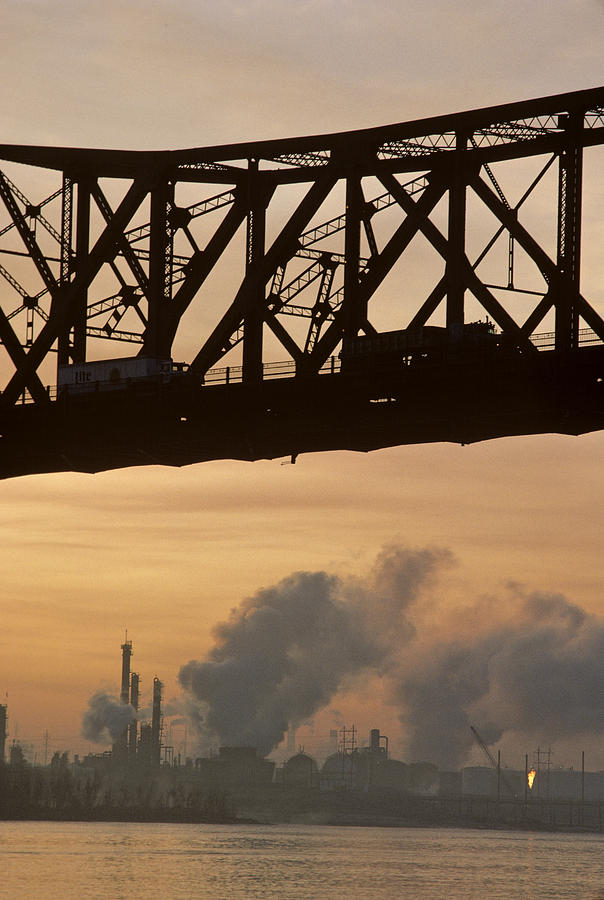 Air Pollution Photograph - Bridge, River, And Skyline Full Of Air by Kenneth Garrett