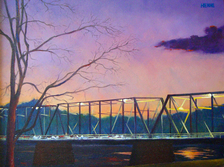River Painting - Bridge Sunset by Robert Henne