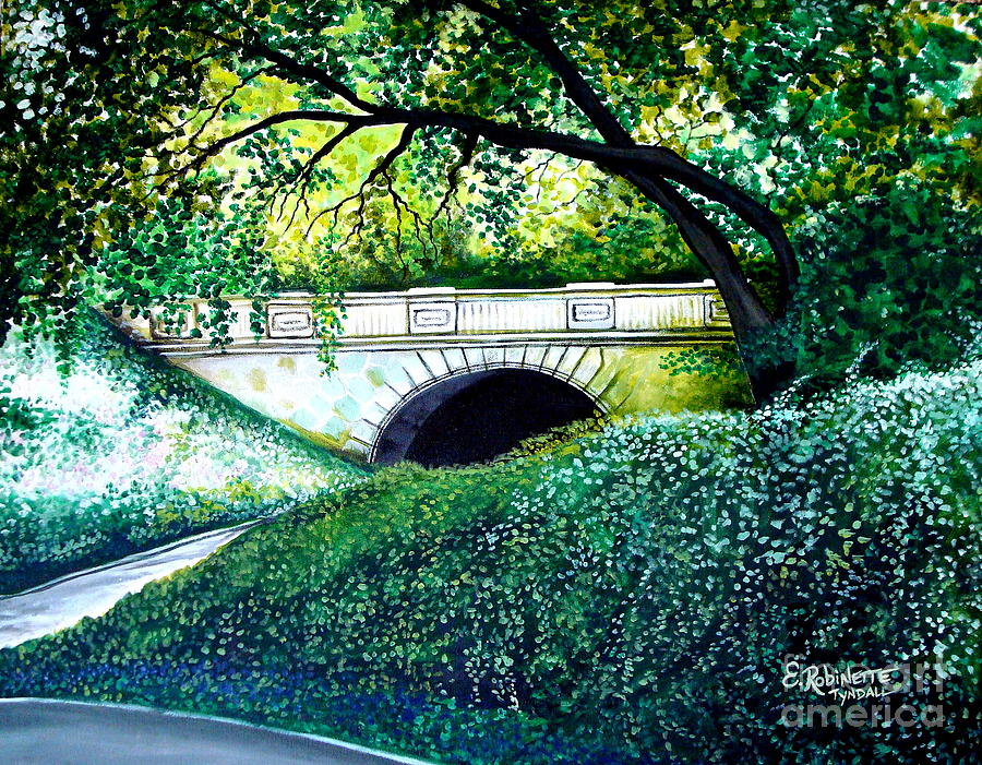 Landscape Painting - Bridge To New York by Elizabeth Robinette Tyndall