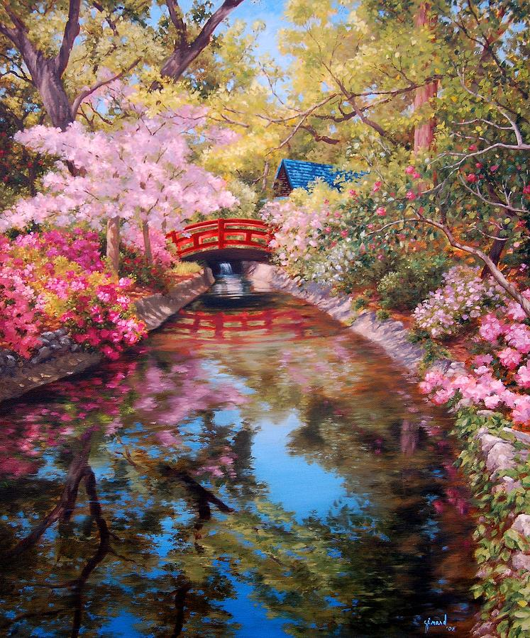 Bridge To The Japanese Teahouse Painting By Johanna Girard